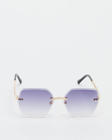 You & I Gradient Rimless Bevelled Edge With Plaited Detailing Sunglasses Light Gold Grey