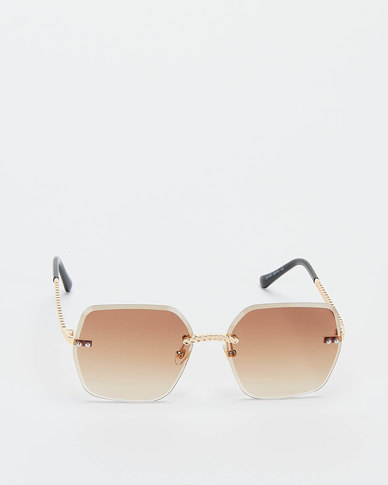 You & I Gradient Rimless Bevelled Edge With Plaited Detailing Sunglasses Light Gold Brown