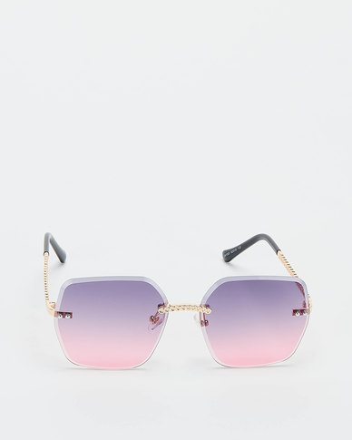 You & I Rimless Bevelled Edge With Plaited Detailing Sunglasses Light Gold Purple To Navy