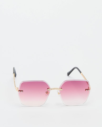 You & I Rimless Bevelled Edge With Plaited Detailing Sunglasses Light Gold Grey To Pink