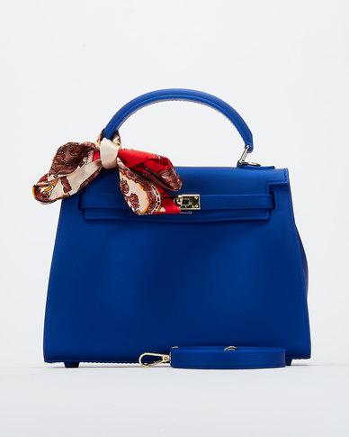 You & I Silicone Scarf Detail Crossbody Bag Blue