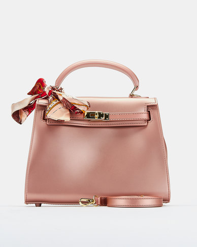 You & I Rose Silicone Scarf Detail Crossbody Bag Pink