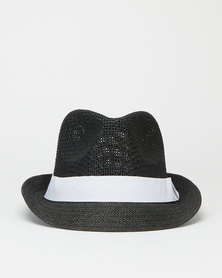 You & I Natural Fiber Trilby Hat Black