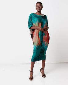 Michelle Ludek Jess Midi Dress With Sleeve Detail Green