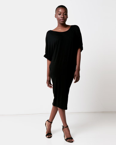 Michelle Ludek Jess Midi Dress With Sleeve Detail Black
