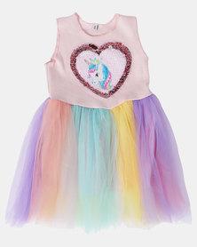 Utopia Girls Rainbow Unicorn Dress Multi