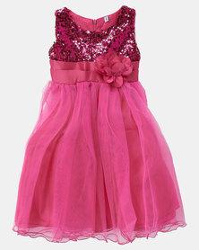 Utopia Girls Sequin Dress Pink
