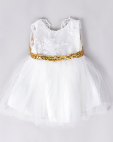 Utopia Girls Bow Dress White/Gold