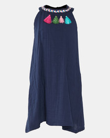 Utopia Girls Tass Coloured Tassel Dress Purple