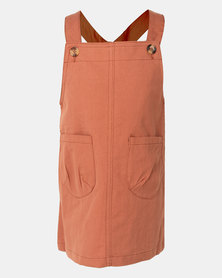Utopia Girls Pippa Pinafore Dress  Orange