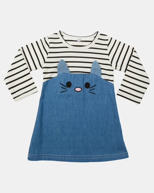 Utopia Girls Denim Mix Mouse Dress Multi