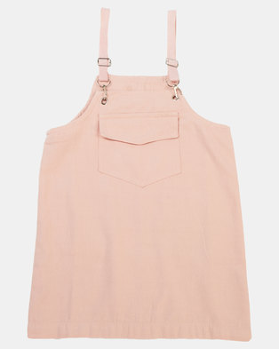 Utopia Girls Dungaree Dress Light Pink