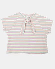 Utopia Girls Stripe Top Pink