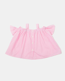 Utopia Girls Lee Cold Shoulder Top Pink
