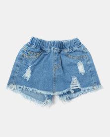 Utopia Girl Distressed Denim Skirt Blue