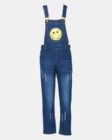 Utopia Girls Smiley Denim Dungaree Blue