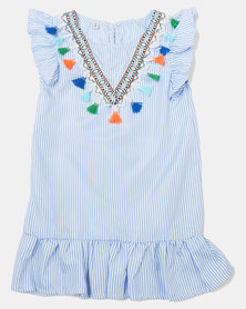 Utopia Girls Jazz Colour Fringe Top Blue
