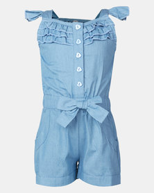 Utopia Girls Frill Denim Jumpsuit Blue