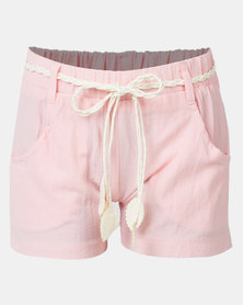 Utopia Girl Belted Shorts Pink