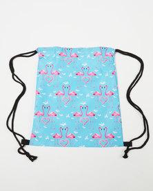 Utopia Kids Flamingo Drawstring Bag Blue
