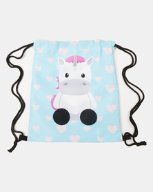 Utopia Kids Unicorn Heart Drawstring Bag Blue