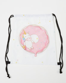 Utopia Kids Happy Unicorn Drawstring Bag White