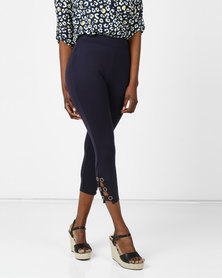 cath.nic By Queenspark Eyelet Detail Ponti Slacks Navy