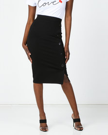 Cath Nic By Queenspark Bodycon Button Detail Knit Skirt Black
