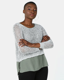 Cath Nic By Queenspark Knit Top With Sparkle Overlay Khaki