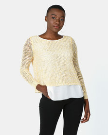 Cath Nic By Queenspark Knit Top With Sparkle Overlay Yellow