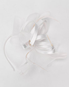 Queenspark Ribbon Bow Trim Fascinator With Alice Band Cream