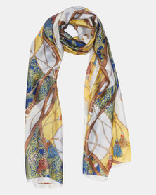 Queenspark  Belt Design Satin Poly Scarf Yellow