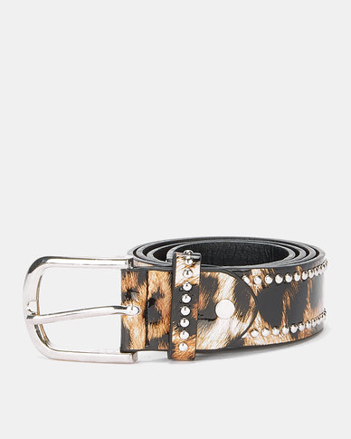 Queenspark Patent Animal Stud Belt Natural