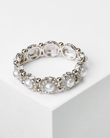 Queenspark Pearl Stretchy Bracelet Silver
