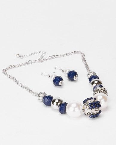 Queenspark Pearls & Drop Earrings Set  Navy