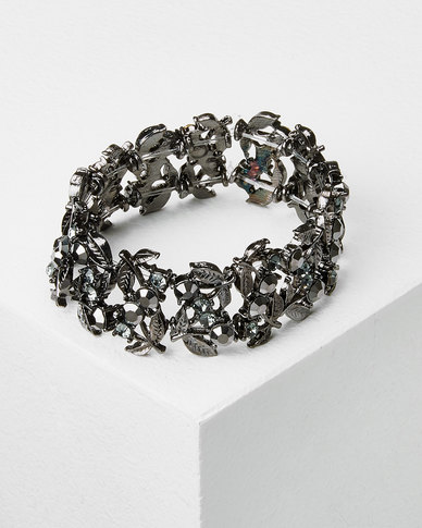 Queenspark Anthracite Crystal Wristwear Charcoal