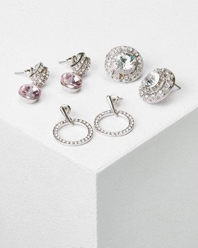 Queenspark 3Pk Glass Crystal Earrings Silver