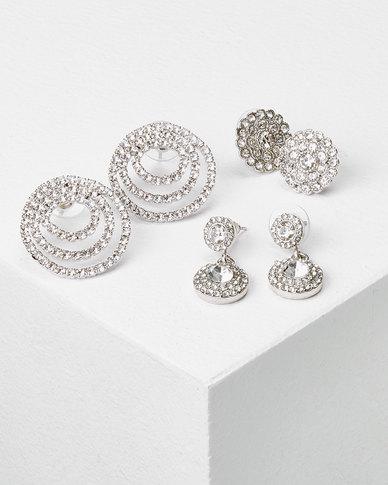 Queenspark  3Pk Classic Drop Circle Earrings Silver