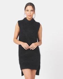 Kay & May J-Patricia Angora Sleeveless High Neck Tunic Dress Black