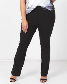 Queenspark Plus Collection Pleated Pocket Stretch Bengaline Woven Pants Black