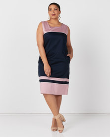 Queenspark Plus Collection Sleeveless Colourblocked Lined Woven Dress Navy