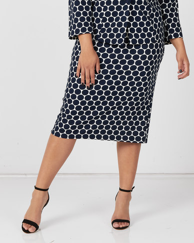 Queenspark Plus Collection Spot Lined Knit Skirt  Navy