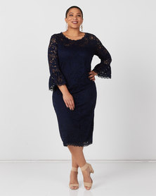 Queenspark Plus Collection Fancy Lace Frill Sleeve Glamour Knit Dress Navy