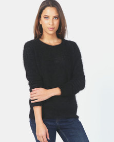 Kay & May J-Patricia Angora Crew Neck Jersey Black