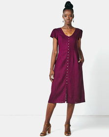 Miss Cassidy By Queenspark Button Front Woven Dress Purple