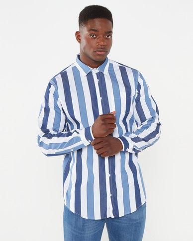 JCrew Bold Stripe Shirt Blue