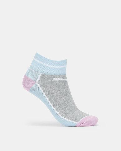Puma Girls 2-Pack Sneaker Sock White-Grey