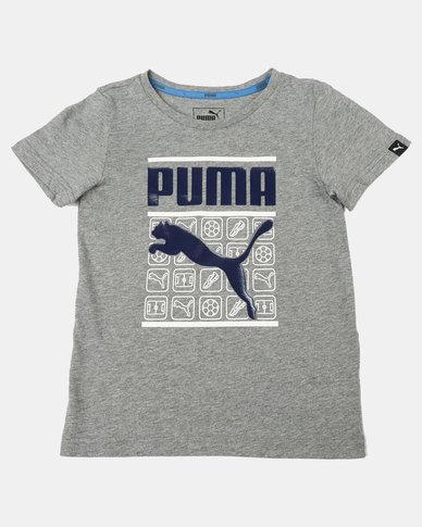 Puma Sportstyle Core Heather Style Medium Graphic Tee Grey