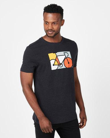 Vents Brull Melange Art Bike Colour T-Shirt Black