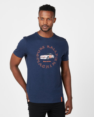 Vents Brull Melange Pure Rally T-Shirt Navy